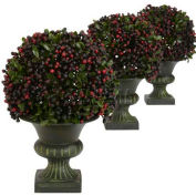Nearly Natural Pepper Berry Ball Topiary (Set of 3)