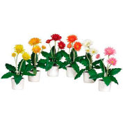 Nearly Natural Gerber Daisy with White Vase (Set of 6)