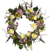 Nearly Natural 24'' Hydrangea Rose Wreath
