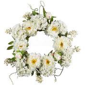 Nearly Natural 20'' Peony Hydrangea Wreath