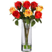 Nearly Natural Roses with Glass Vase Silk Flower Arrangement