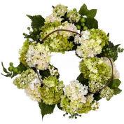 Nearly Natural 22'' Hydrangea Wreath, Cream/Green