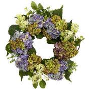 Nearly Natural 22'' Hydrangea Wreath, Purple/Green