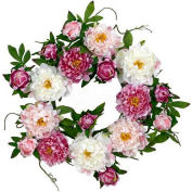 Nearly Natural 22'' Peony Wreath