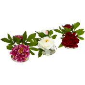 Nearly Natural Peony with Glass Vase (Set of 3)