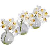 Nearly Natural Cymbidium with Vase Silk Flower Arrangement (Set of 3)