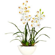 Nearly Natural Cymbidium with White Vase Silk Flower Arrangement