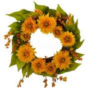 Nearly Natural 22'' Golden Sunflower Wreath
