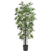 Nearly Natural 6' Bamboo Silk Tree, Green Trunks