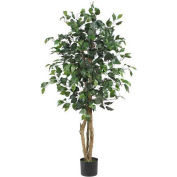Nearly Natural 4' Ficus Silk Tree with Round Pot, Green