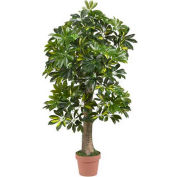 Nearly Natural 4' Schefflera Silk Tree, Green