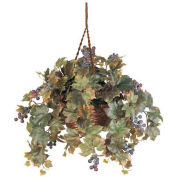 Nearly Natural Grape Leaf Hanging Basket Silk Plant