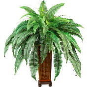 Nearly Natural Boston Fern with Wood Vase Silk Plant