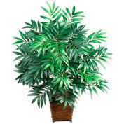 Nearly Natural Bamboo Palm with Wicker Basket Silk Plant