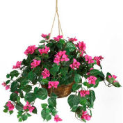 Nearly Natural Bougainvillea Hanging Basket Silk Plant
