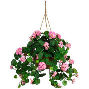 Nearly Natural Geranium Hanging Basket Silk Plant, Pink