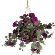 Nearly Natural Morning Glory Hanging Basket Silk Plant