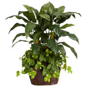 Nearly Natural 4' Double Bird of Paradise with Vase & Pothos Silk Plant