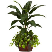 Nearly Natural 4' Bird of Paradise with Vase & Pothos Silk Plant