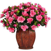 Nearly Natural Azalea with Vase Silk Plant
