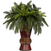Nearly Natural Cycas with Bamboo Vase Silk Plant