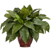Nearly Natural Birdsnest Fern with Decorative Vase Silk Plant