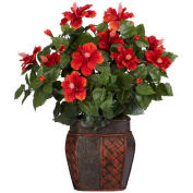 Nearly Natural Hibiscus with Vase Silk Plant