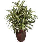 Nearly Natural Aglaonema with Decorative Vase Silk Plant