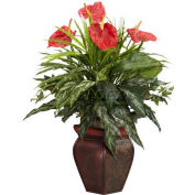 Nearly Natural Mixed Greens & Anthurium with Decorative Vase Silk Plant