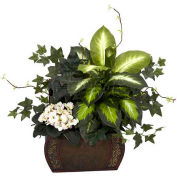 Nearly Natural African Violet, Dieffenbachia & Ivy with Chest Silk Plant