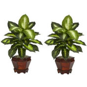 Nearly Natural Dieffenbachia with Wood Vase Silk Plant (Set of 2), Golden