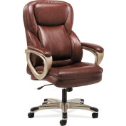 HON® Sadie Executive Office Computer Chair with Fixed Arms - Brown Leather