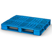 Rackable Plastic Pallet Blue 48x40 - Open Deck, FDA Grade, 6 Runner, Fork Cap. 4400 Lbs