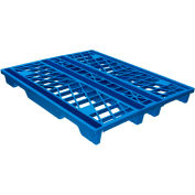 Eco Pallet Rackable, Nestable Plastic Pallet Blue 48x40 FDA Grade - 4 Runner,  Fork Cap. 3100 Lbs. - Pkg Qty 5