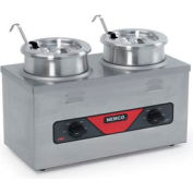 4 Quart Cooker Warmer, Twin Well With Inset, Cover & Ladel