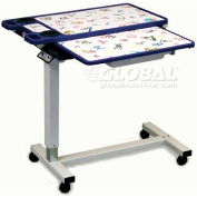 "NK Medical Pediatric Overbed Table with Vanity & Cupholders, Single Top, 18"" x 32"" Top, Hand Prints"