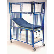 """NK Medical Child Crib C1982CG, Klimer, 30""""W X 60""""L X 78""""H, Gatch/Trend Deck, Chrome"""