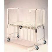 "NK Medical Infant Standard Crib E1970CL, 30""W x 44""L x 61""H, Flat Deck with Plexi End, Epoxy"