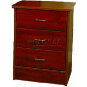 "NK Medical Bedside Cabinet, Monroe, 3 Drawers, 22""W X 17""D X 29""H, Southern Cherry"