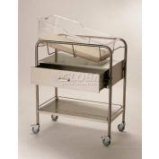 """NK Medical Bassinet with Drawer NB-SSxD, 31""""L x 17-1/2""""W x 37-3/4""""H, Stainless Steel"""