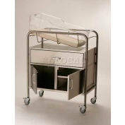 """NK Medical Bassinet NB-SSxDC, Drawer & 12"""" Closed Cabinet, No Basket, Stainless Steel"""