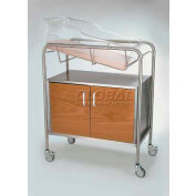"""NK Medical Bassinet NB-WFxCC, Closed 17"""" Cabinet, Stainless Steel W/Red Oak Front"""