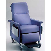 "NK Medical Recliner, 5"" Casters, Push Bar & Side Table, Colonial Blue"