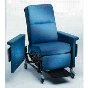 "NK Medical Recliner with Swing Arms, 5"" Casters, Push Bar & Side Table, Colonial Blue"