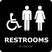 Graphic Braille Sign - Restrooms - Black