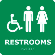 Graphic Braille Sign - Restrooms - Gray
