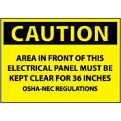 Machine Labels - Caution Area In Front Of This Electrical Panel