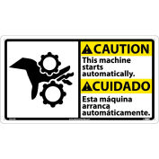 Bilingual Plastic Sign - Caution This Machine Starts Automatically