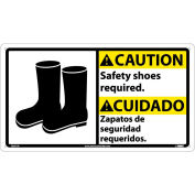 Bilingual Plastic Sign - Caution Safety Shoes Required