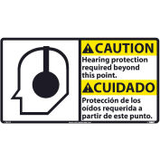 Bilingual Vinyl Sign - Caution Hearing Protection Required Beyond This Point